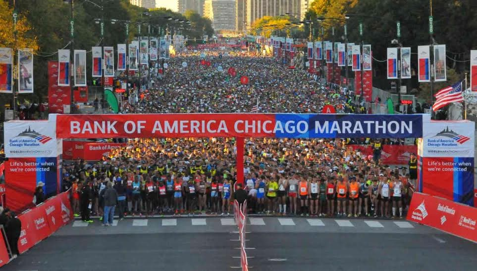 Arco de salida del Bank of America Chicago Marathon